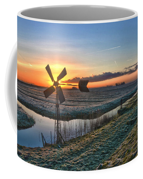 Windmill Coffee Mug featuring the photograph Windmill At Sunrise by Frans Blok