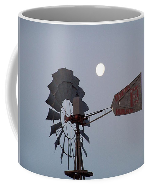 Windmill Coffee Mug featuring the photograph Windmill Moon by Gale Cochran-Smith
