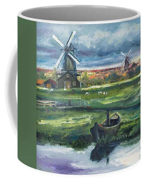 Water Coffee Mug featuring the painting Windmills by Rick Nederlof