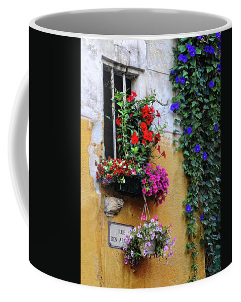Flowers Coffee Mug featuring the photograph Window Garden In Arles France by Dave Mills