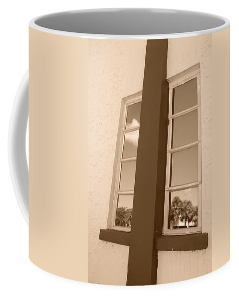 Sepia Coffee Mug featuring the photograph Window T Glass by Rob Hans