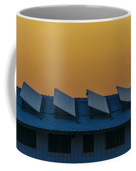 Sunrise Coffee Mug featuring the digital art window to Solar power by Tsafreer Bernstein