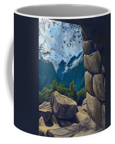 Peru Coffee Mug featuring the painting Window to the Past by Hunter Jay