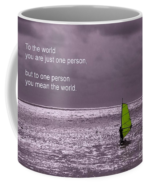 Friendship Coffee Mug featuring the photograph Windsurfer Under A Gloomy Sky by Yali Shi