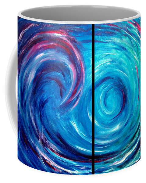 Blue Coffee Mug featuring the painting Windswept Blue Wave And Whirlpool 2 by Nancy Mueller