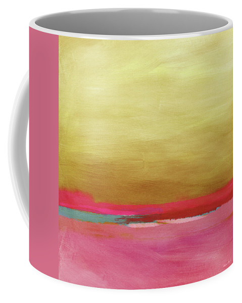 Abstract Coffee Mug featuring the mixed media Windswept Sunrise- Art by Linda Woods by Linda Woods