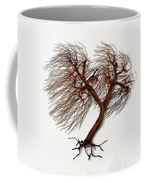 Wind Swept Coffee Mug featuring the sculpture Windswept Tree Wall Sculpture 2 by Omer Huremovic