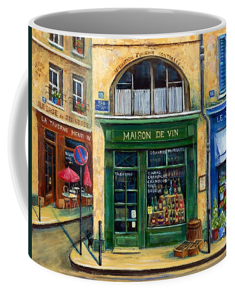 French Street Scene Coffee Mug featuring the painting Wine And Flowers by Marilyn Dunlap