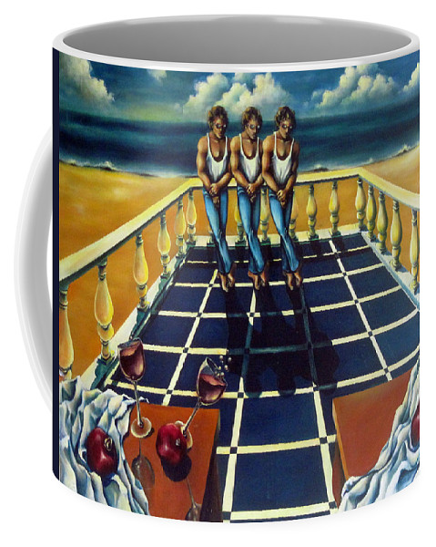 Surreal Coffee Mug featuring the painting Wine And Pomegranites by Valerie Vescovi
