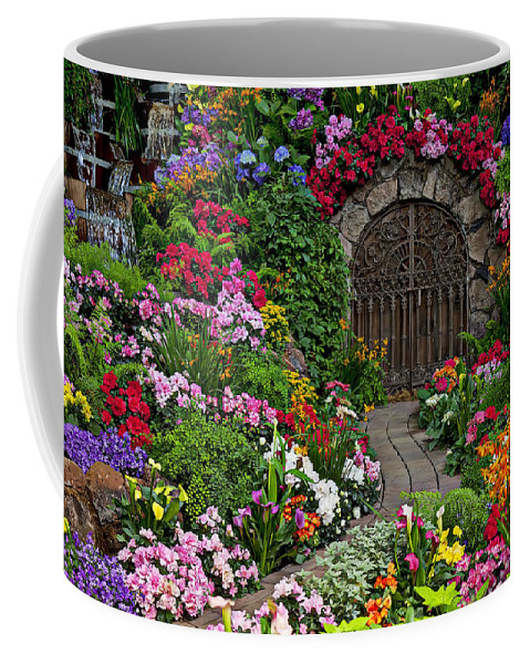 Flowers Coffee Mug featuring the photograph Wine Celler Gates by Garry Gay