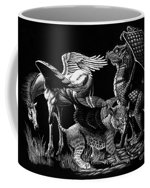 Fantasy Coffee Mug featuring the drawing Winged Hatchlings by Stanley Morrison