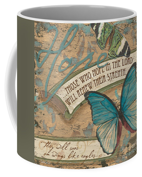 Butterfly Coffee Mug featuring the painting Wings of Hope by Debbie DeWitt