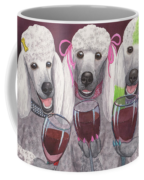 Poodle Coffee Mug featuring the painting Wining Bitches by Catherine G McElroy