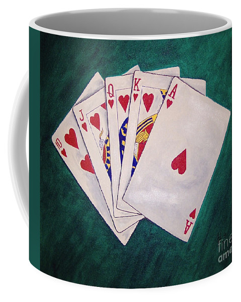 Playing Cards Wining Hand Role Flush Coffee Mug featuring the painting Wining Hand 2 by Herschel Fall