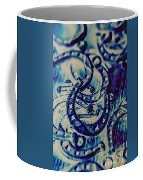 Abstract Coffee Mug featuring the photograph Winning Blue Country Tokens by Jorgo Photography - Wall Art Gallery