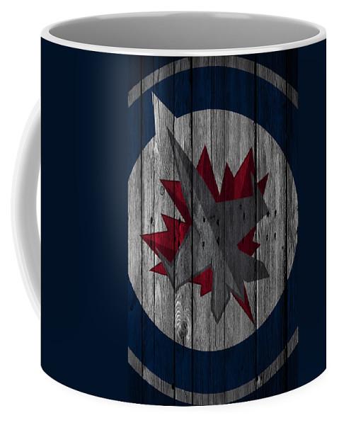Jets Coffee Mug featuring the digital art Winnipeg Jets Wood Fence by Joe Hamilton