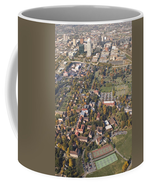 Aerial Coffee Mug featuring the photograph Winston Salem Nc From Above by Robert Ponzoni