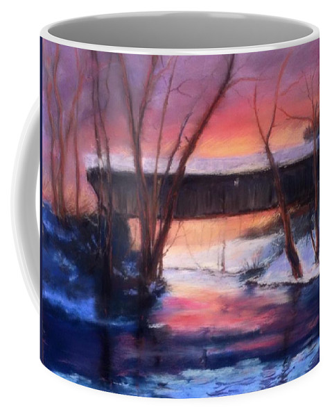 Landscape Coffee Mug featuring the painting Winter at Bennett's Mill by Gail Kirtz