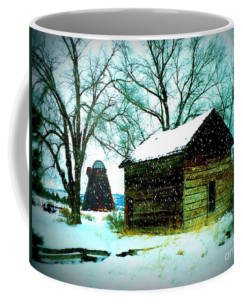 Winter Landscape Coffee Mug featuring the photograph Winter Barn And Silo by Carol Groenen