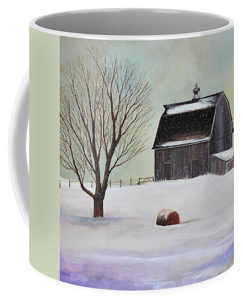 Barn Coffee Mug featuring the painting Winter Barn II by Toni Grote