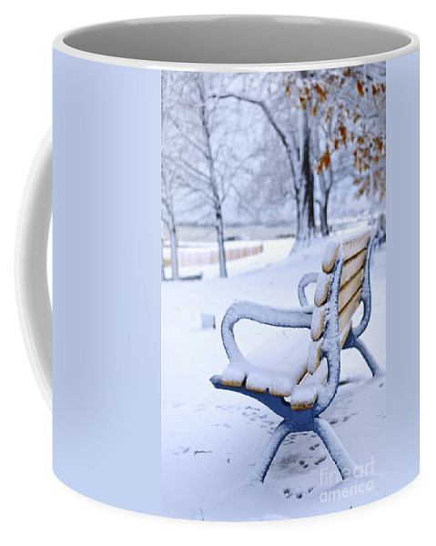 Winter Coffee Mug featuring the photograph Winter Bench by Elena Elisseeva