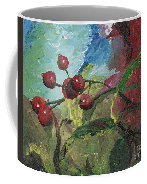 Berries Coffee Mug featuring the painting Winter Berries by Nadine Rippelmeyer