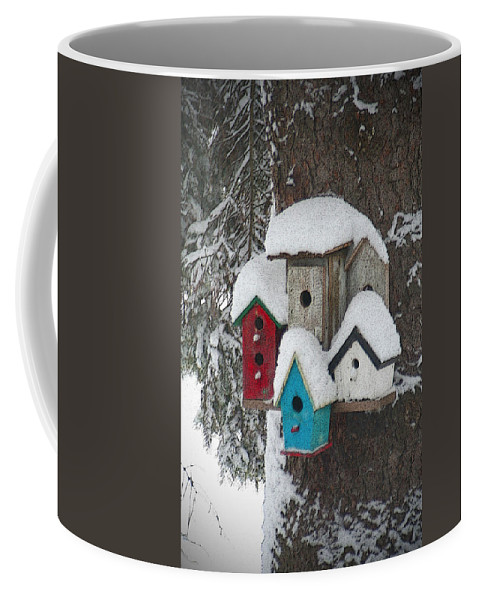 Winter Coffee Mug featuring the photograph Winter Birdhouses by Tim Nyberg