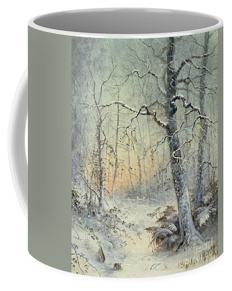 Winter Coffee Mug featuring the painting Winter Breakfast by Joseph Farquharson