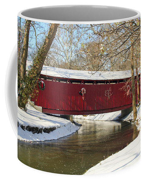 Covered Bridge Coffee Mug featuring the photograph Winter Bridge by Margie Wildblood
