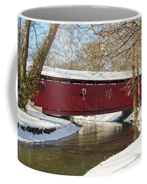 Covered Bridge Coffee Mug featuring the photograph Winter Bridge by Margie Wildblood
