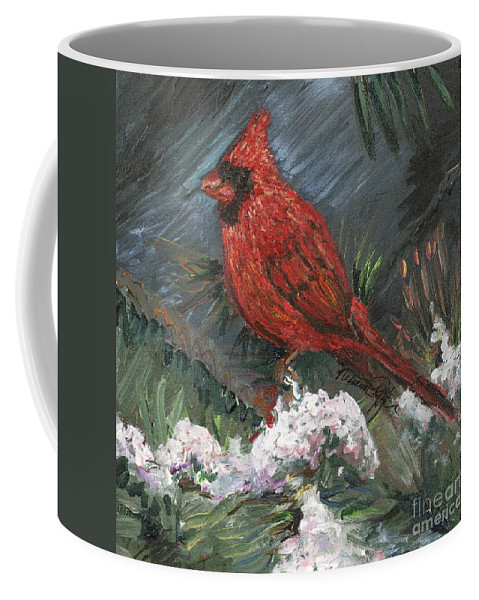 Bird Coffee Mug featuring the painting Winter Cardinal by Nadine Rippelmeyer
