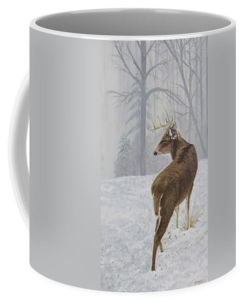 Buck Coffee Mug featuring the painting Winter Coat Buck by Johanna Lerwick