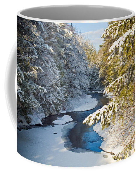 Snow Coffee Mug featuring the photograph Winter Creek In Morning Light by David Thompson