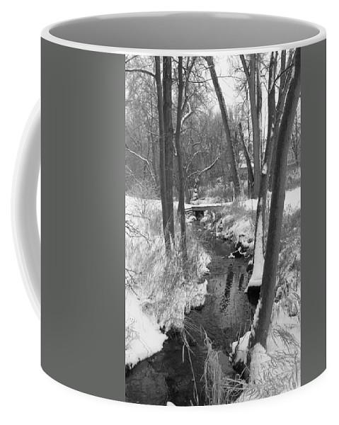 Snow Coffee Mug featuring the photograph Winter Creek by Lauri Novak