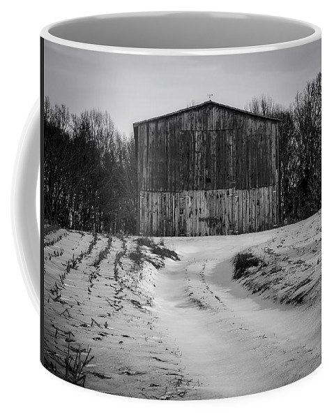 Black And White Coffee Mug featuring the photograph Winter Field by Michael Vines