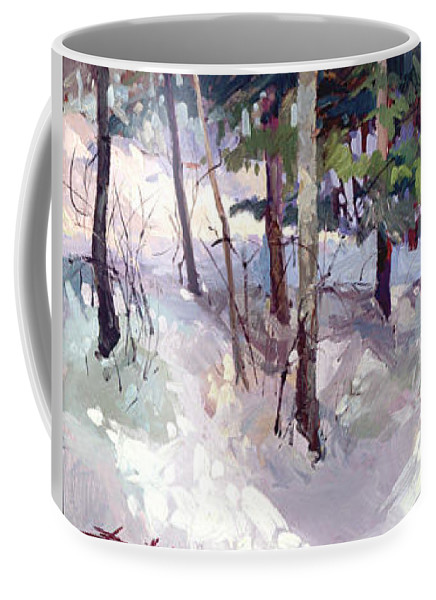 Landscape Coffee Mug featuring the painting Winter Garden Plein Air by Betty Jean Billups