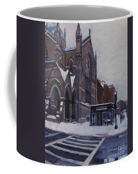 Boston Coffee Mug featuring the painting Winter In Boston by Deb Putnam