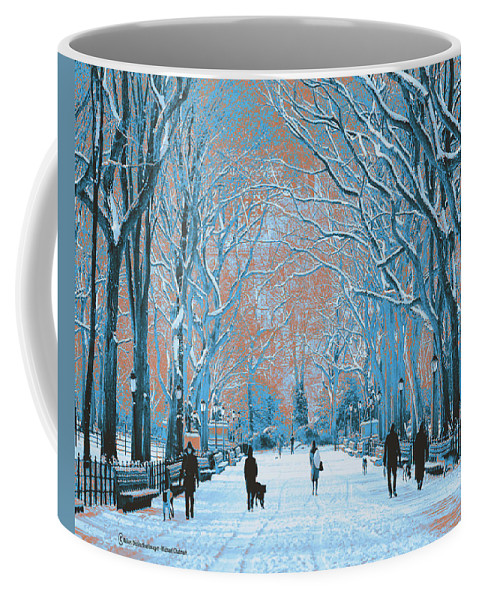 Digital Photography Coffee Mug featuring the digital art Winter In The City Park by Michael Chatman