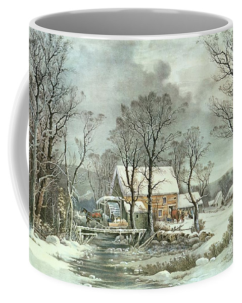 a54e3e05ffb Winter In The Country - The Old Grist Mill Coffee Mug featuring the  painting Winter In