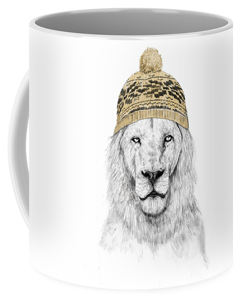 Lion Coffee Mug featuring the mixed media Winter Is Coming by Balazs Solti