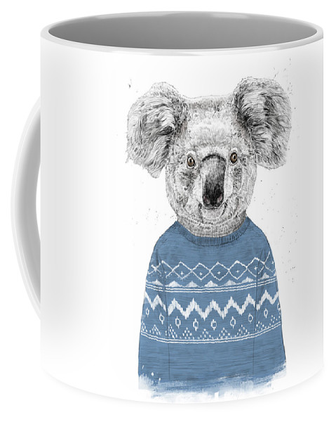 Koala Coffee Mug featuring the drawing Winter Koala by Balazs Solti