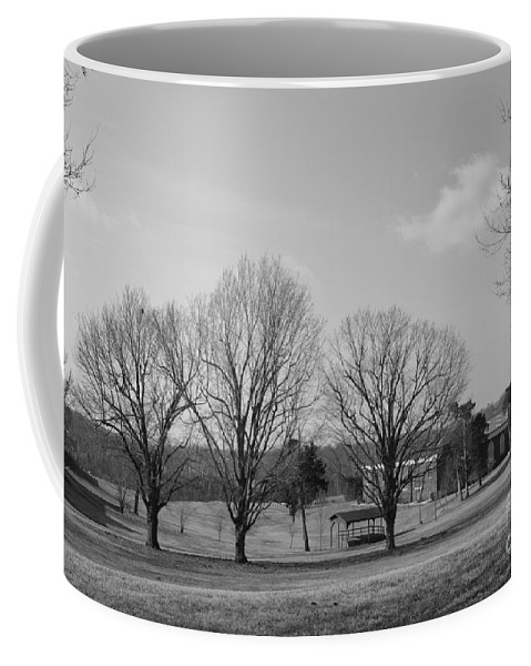 B&w Coffee Mug featuring the photograph Winter Looking At The Dell by Katherine W Morse