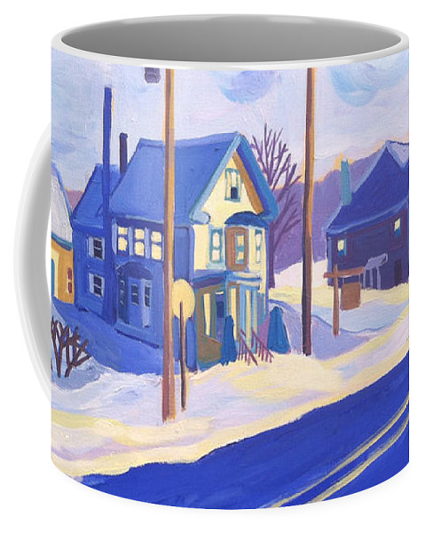 Winter Coffee Mug featuring the painting Winter Main Street Plaistow NH by Debra Bretton Robinson