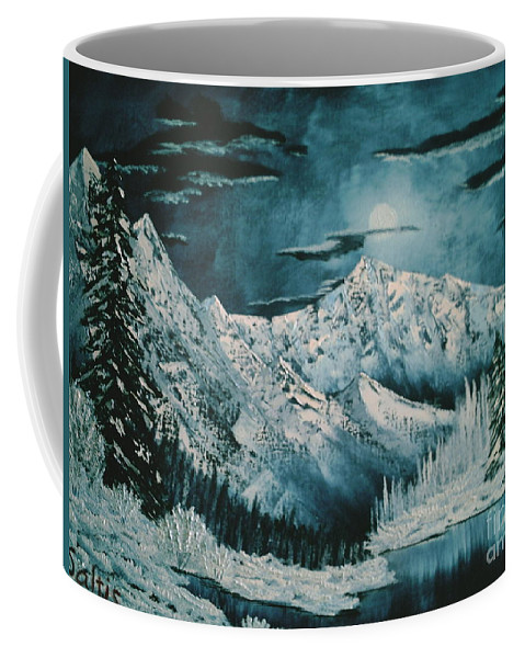 Winter Landscape Coffee Mug featuring the painting Winter Moon 2 by Jim Saltis