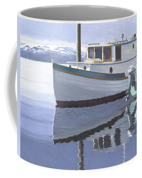 Marine Coffee Mug featuring the painting Winter Moorage by Gary Giacomelli