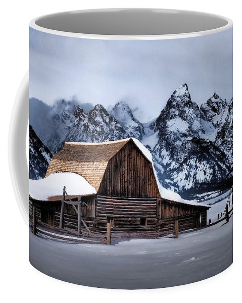 Tetons Coffee Mug featuring the photograph Winter Morning At John Moulton Barn by Jim Moser