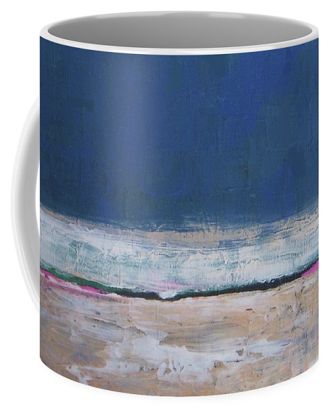 Abstract Coffee Mug featuring the painting Winter Night Prairie by Vesna Antic