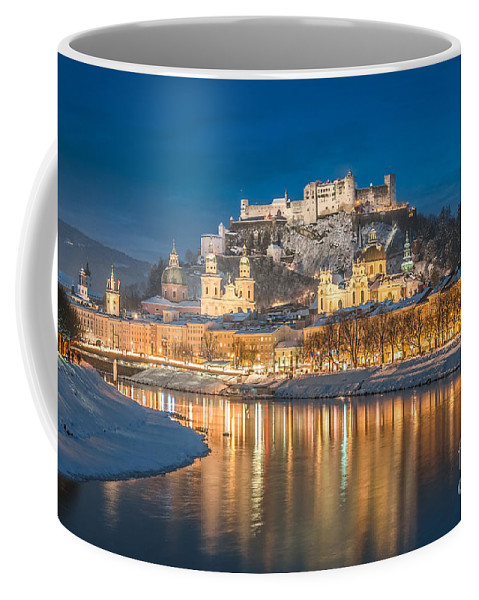 Advent Coffee Mug featuring the photograph Winter Night Shot Of Salzburg by JR Photography