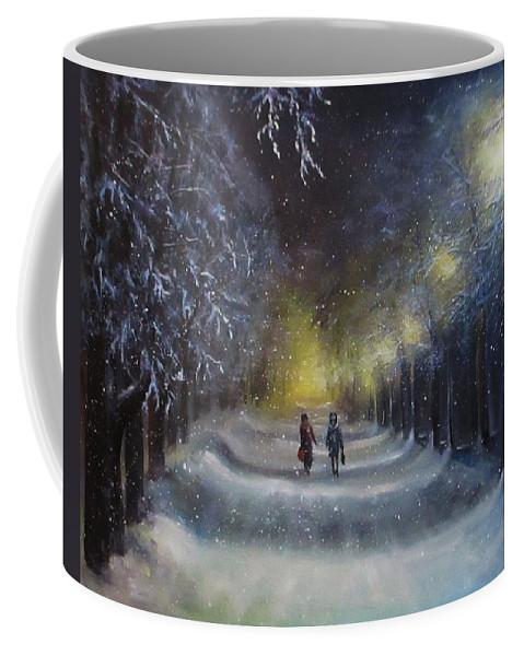 Night Lights Coffee Mug featuring the painting Winter night walk by Natalja Picugina