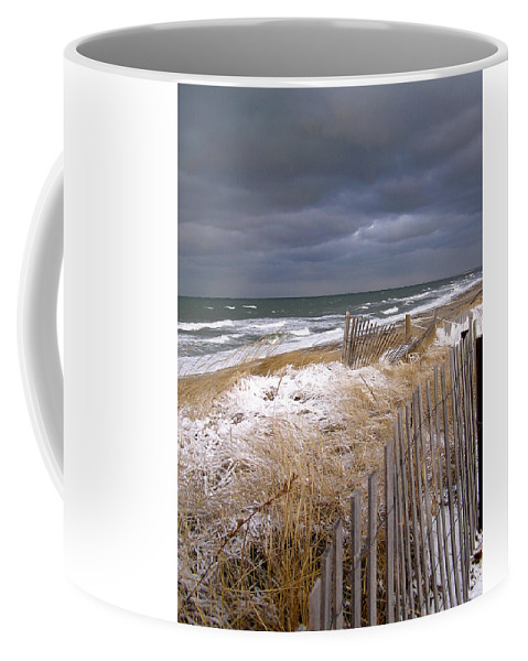 Cape Cod Coffee Mug featuring the photograph Winter On Cape Cod Sandy Neck Beach by Charles Harden